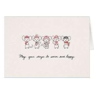 Ratones del invierno tarjeta de felicitación
