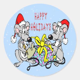 Ratones del navidad pegatina redonda