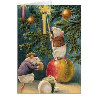 Ratones del vintage que encienden el árbol de navi tarjeta de felicitación