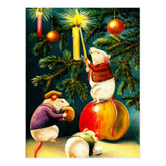Ratones divertidos Postales del navidad del vinta