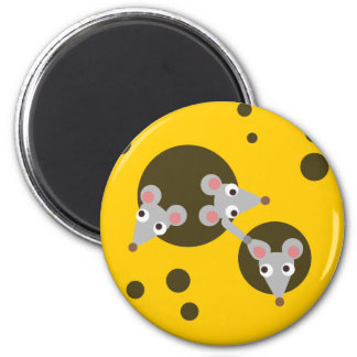 Ratones en queso imán redondo 5 cm