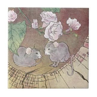 Ratones en registro hueco con los rosas tejas  ceramicas