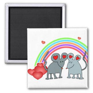 Ratones en tarjetas del día de San Valentín del am Imán Cuadrado