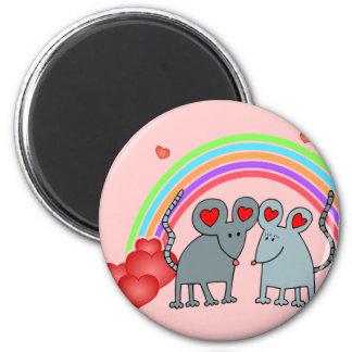 Ratones en tarjetas del día de San Valentín del am Imán Redondo 5 Cm