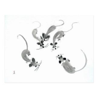 Ratones - estilo oriental tarjetas postales
