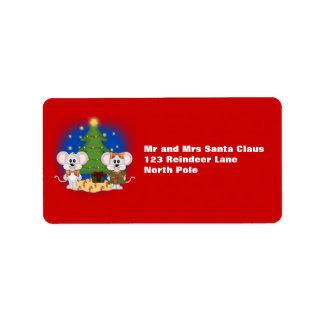 Ratones lindos del navidad con el texto adaptable etiqueta de dirección