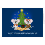 Ratones lindos del navidad con el texto adaptable tarjeta