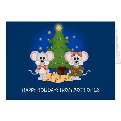 Ratones lindos del navidad con el texto adaptable tarjeta de felicitación