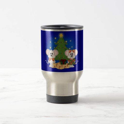Ratones lindos del navidad con el texto adaptable taza de viaje de acero inoxidable