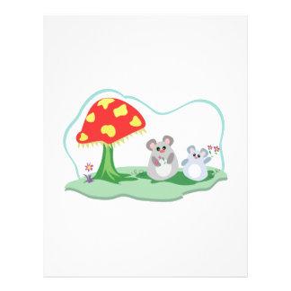 ratones lindos en jardín de la seta flyer personalizado