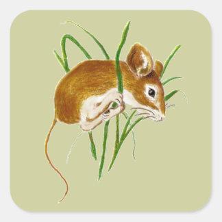 Ratones lindos, naturaleza animal de la acuarela pegatina cuadrada