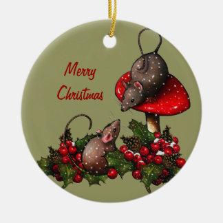 Ratones, navidad: Toadstool, nieve: Arte Adorno Navideño Redondo De Cerámica