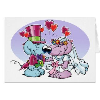 Ratones que casan pares tarjeta de felicitación