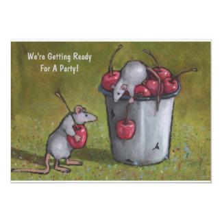 """Ratones que roban cerezas: Arte en colores pastel Invitación 5"""" X 7"""""""