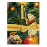 Ratones y árbol del navidad del ejemplo del vintag tarjeta postal