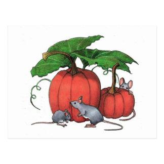 Ratones y calabazas: Escena linda del otoño: Arte Postal