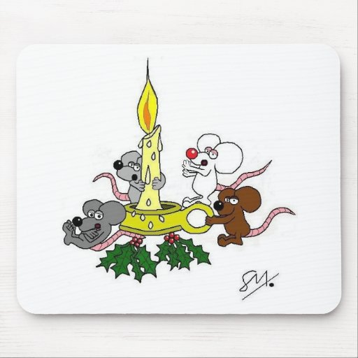 Ratones y la vela del navidad tapete de ratones