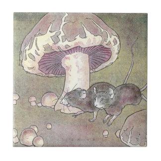 Ratones y setas azulejo cuadrado pequeño