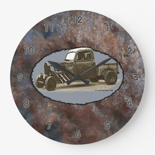 Ratrod Truck Rusty Metal Gray Groove Numbers Large Clock