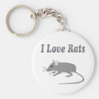 Rats Basic Round Button Keychain