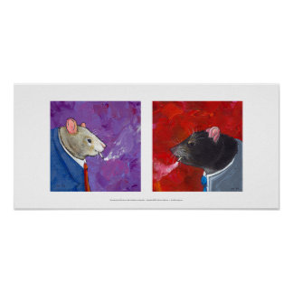 Rats in business suits smoking cigarettes fun art posters