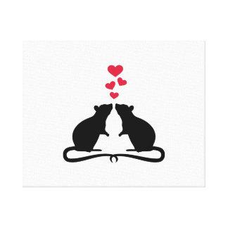 Rats love hearts canvas print