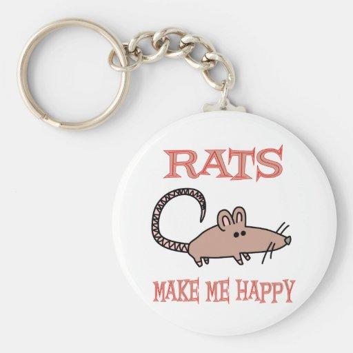 Rats Make Me Happy Basic Round Button Keychain