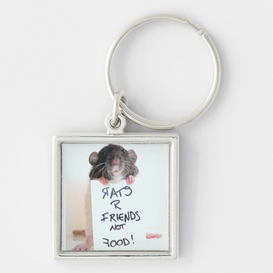 Rats R Friends Not Food 2 Keychain