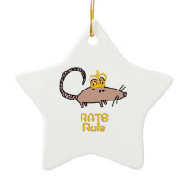 Rats Rule Golden Crown Ceramic Ornament