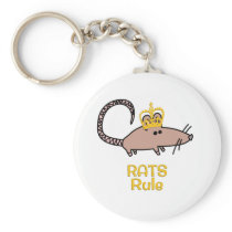 Rats Rule Golden Crown Keychain