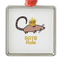 Rats Rule Golden Crown Metal Ornament