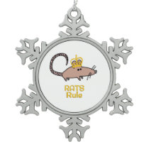 Rats Rule Golden Crown Snowflake Pewter Christmas Ornament
