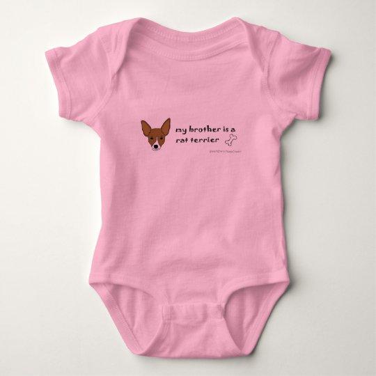 RatTerrierTanWhiteBrother Baby Bodysuit