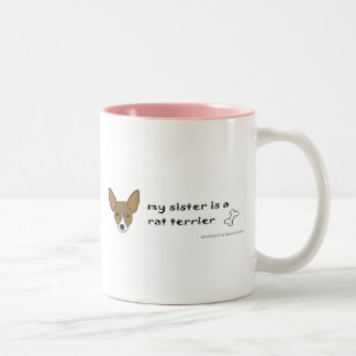 RatTerrierTanWhiteSister Two-Tone Coffee Mug