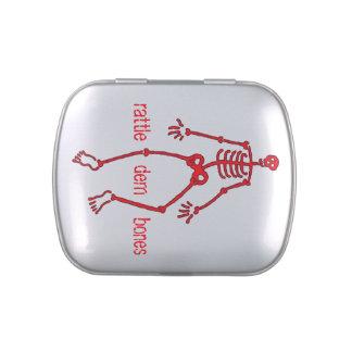 Rattle dem bones Red Skeleton rect. Candy Tins