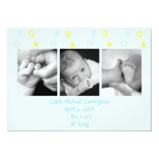 Rattle n Roll Birth Annoucement (blue) Card