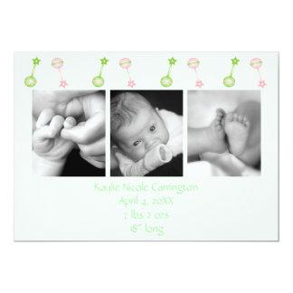 Rattle n Roll Birth Annoucement (green) Card