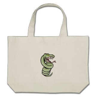 Rattle Snake Coiling Up Cartoon Tote Bags