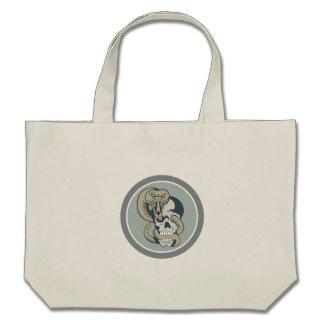 Rattle Snake Curling Around Skull Cartoon Bag