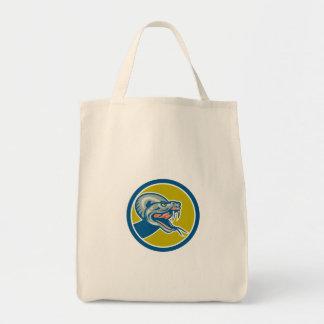 Rattle Snake Head Circle Retro Tote Bag