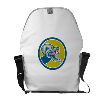 Rattle Snake Head Circle Retro Courier Bag