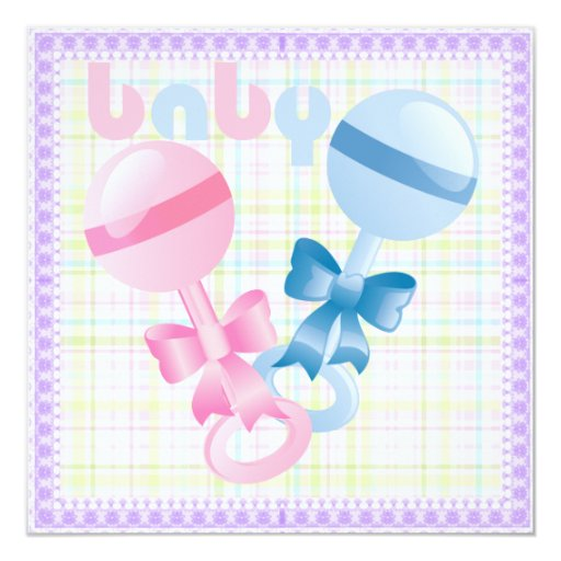Rattles Baby Gender Reveal Party Invitation