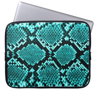 Rattlesnake Snake Skin Leather Faux blue Laptop Computer Sleeve