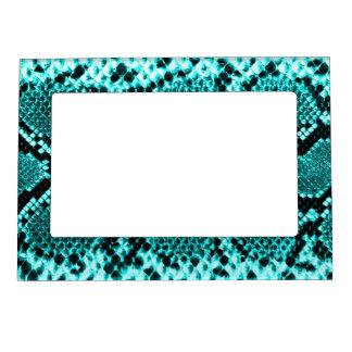 Rattlesnake Snake Skin Leather Faux blue Magnetic Picture Frame