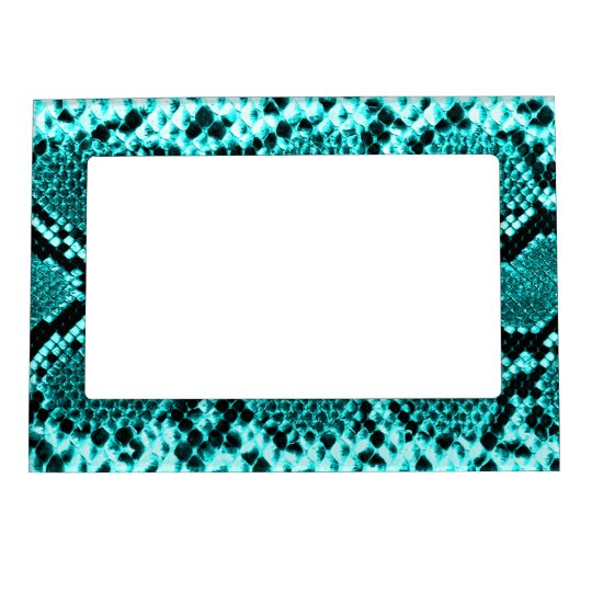 Rattlesnake Snake Skin Leather Faux blue Magnetic Picture Frame