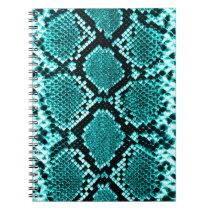 Rattlesnake Snake Skin Leather Faux blue Notebook