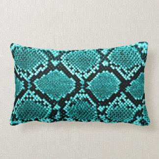 Rattlesnake Snake Skin Leather Faux blue Pillows
