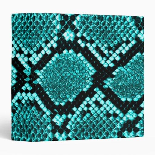 Rattlesnake Snake Skin Leather Faux blue Vinyl Binder