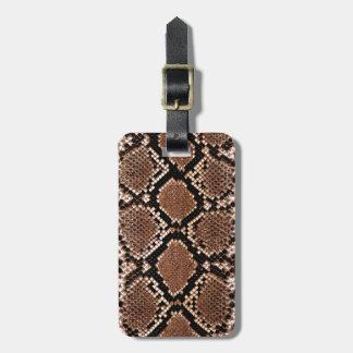 Rattlesnake Snake Skin Leather Faux Luggage Tag