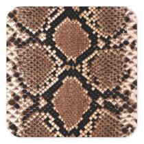 Rattlesnake Snake Skin Leather Faux Square Sticker